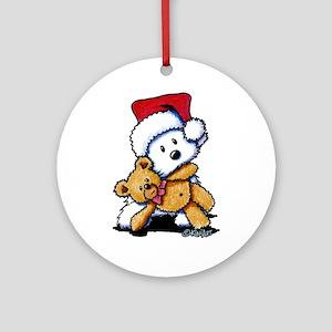 Christmas Teddy Bear Westie Ornament (Round)