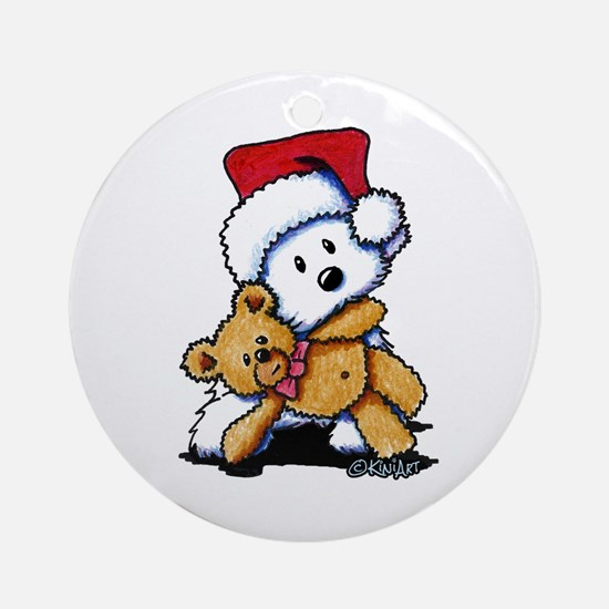 Christmas Teddy Bear Westie Ornament (Round)