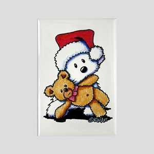 Christmas Teddy Bear Westie Rectangle Magnet