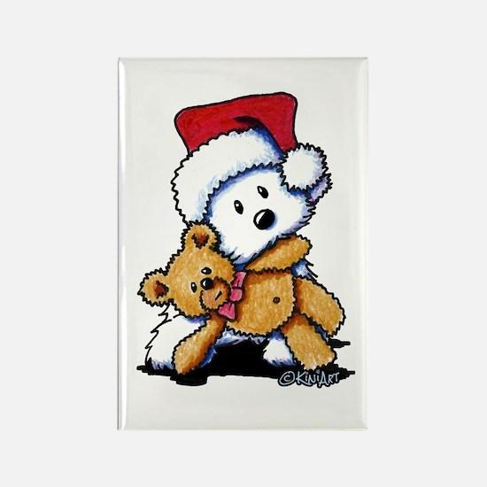 Christmas Teddy Bear Westie Rectangle Magnet