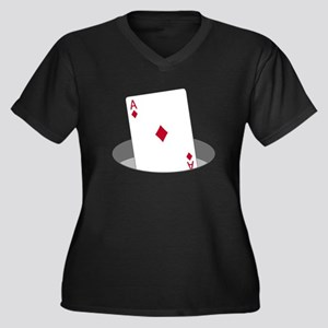 Ace In The Hole Women's Plus Size V-Neck Dark T-Sh