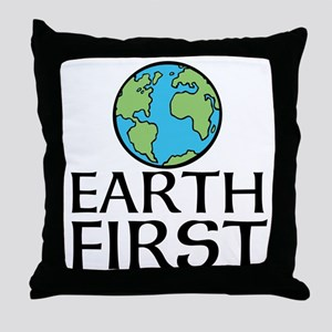 EARTH FIRST Throw Pillow