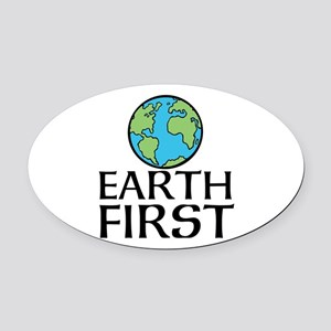 EARTH FIRST Oval Car Magnet