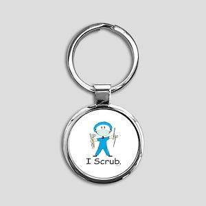 Surgical Tech Stick Figure Round Keychain