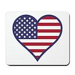 American Flag Heart Mousepad