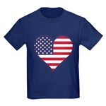 American Flag Heart Kids Dark T-Shirt