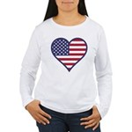 American Flag Heart Women's Long Sleeve T-Shirt