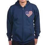 American Flag Heart Zip Hoodie (dark)