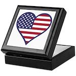 American Flag Heart Keepsake Box
