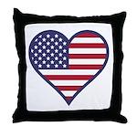 American Flag Heart Throw Pillow
