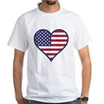 American Flag Heart White T-Shirt