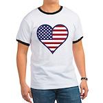 American Flag Heart Ringer T