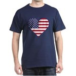 American Flag Heart Dark T-Shirt
