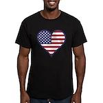 American Flag Heart Men's Fitted T-Shirt (dark)