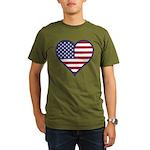 American Flag Heart Organic Men's T-Shirt (dark)