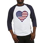 American Flag Heart Baseball Jersey