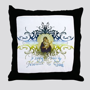 """Holy Mary, Mother of God"" Throw Pillow"