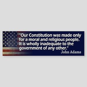John Adams: Religion/Constitution Bumper Sticker