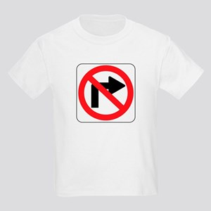 No Right Turn Sign Kids Light T-Shirt
