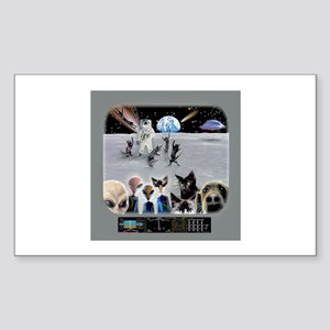 Cat Moon Party Rectangle Sticker