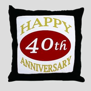 Happy 40th Anniversary Throw Pillow