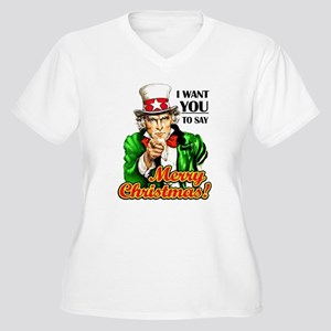 Uncle Sam - I Want You to say Women's Plus Size V-