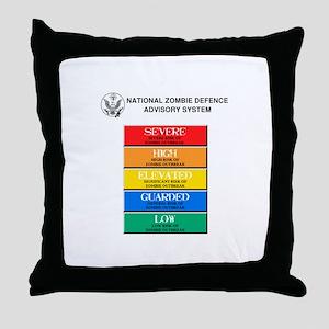 """""""Zombie Threat Level"""" Throw Pillow"""
