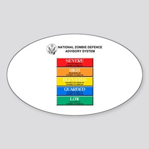 """""""Zombie Threat Level"""" Oval Sticker"""