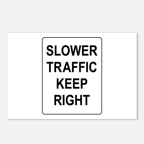 Slower Traffic Keep RIght Sign Postcards (Package