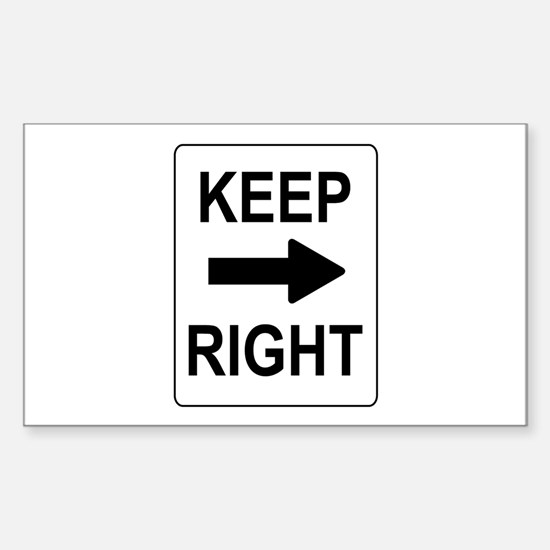 Keep Right Sign Rectangle Decal