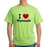I Love Plymouth Green T-Shirt