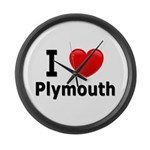 I Love Plymouth Large Wall Clock