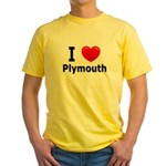 I Love Plymouth Yellow T-Shirt
