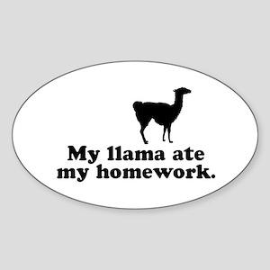Funny Llama Oval Sticker