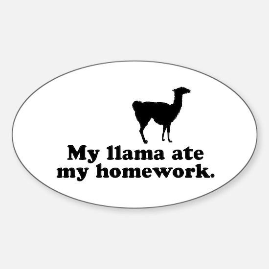 Funny Llama Oval Decal