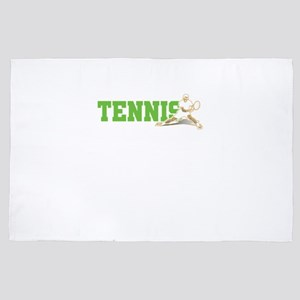 Tennis Sports Ball Player Racket Net R 4' x 6' Rug