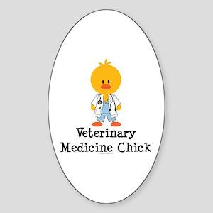 Veterinary Medicine Chick Oval Sticker