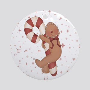 Gingerbread Girl Candy Cane Ornament (Round)