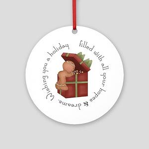 Gingerbread present Ornament (Round)