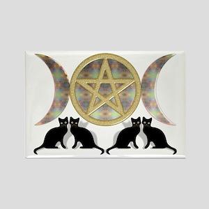 Cats Pentagram Triple Goddess Rectangle Magnet