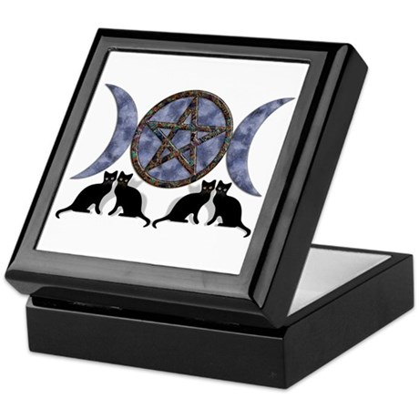 Mystic Blue Pentagram Keepsake Box