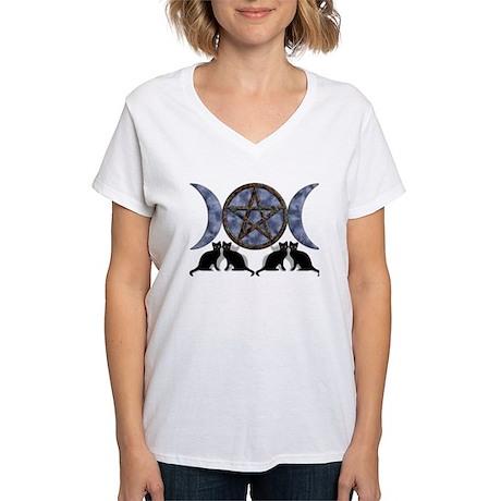 Mystic Blue Pentagram Women's V-Neck T-Shirt