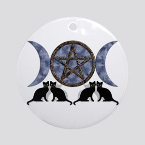 Mystic Blue Pentagram Ornament (Round)