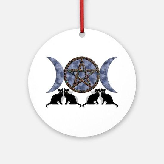 Mystic Blue Pentagram Ornament (Round)