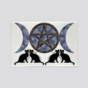 Mystic Blue Pentagram Rectangle Magnet