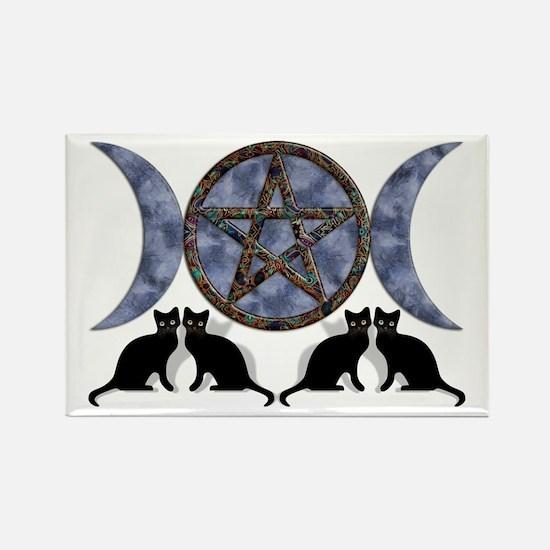 Mystic Blue Pentagram Rectangle Magnet