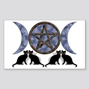 Mystic Blue Pentagram Rectangle Sticker
