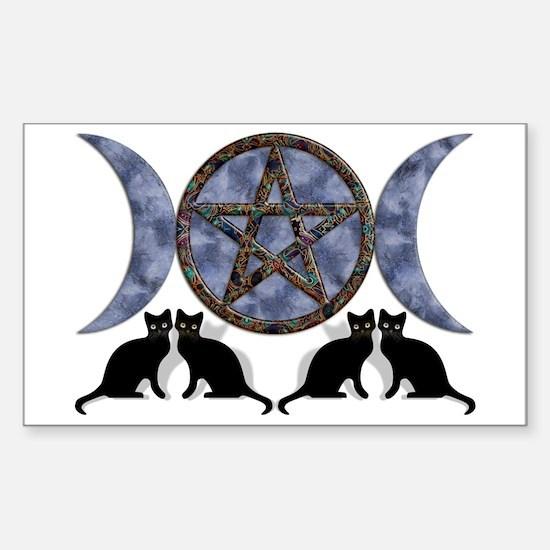 Mystic Blue Pentagram Rectangle Decal