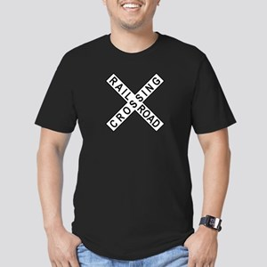 Rail Road Crossing Sign Men's Fitted T-Shirt (dark