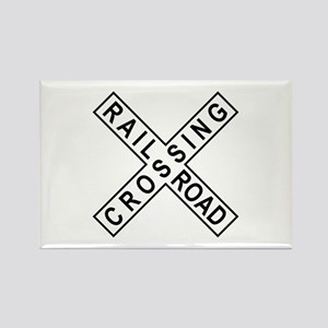 Rail Road Crossing Sign Rectangle Magnet
